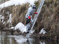 Hasiči ve čtvrtek vytáhli z potoka v Brništi několik mrtvých slepic a kohouta. Proč zvířata uhynula, ukáže až analýza.