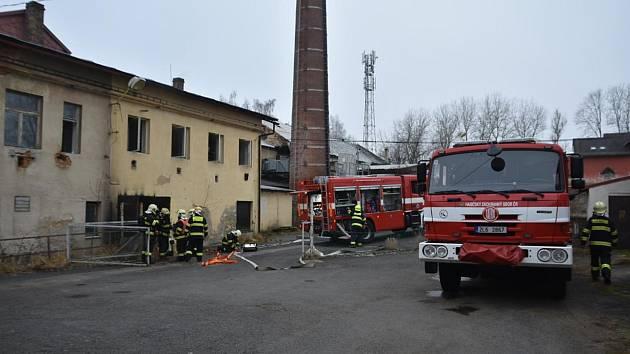 Požár kotelny ve Skalici u České Lípy.