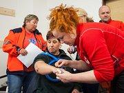 Cvičení zaměřené na třídění a příjem pacienta na urgentním příjmu při mimořádné události s hromadným postižením zdraví proběhlo 11. dubna ve Sloupu v Čechách v rámci konference Dny IZS 2017.