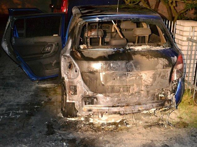V Partyzánské ulici hořela fabia.