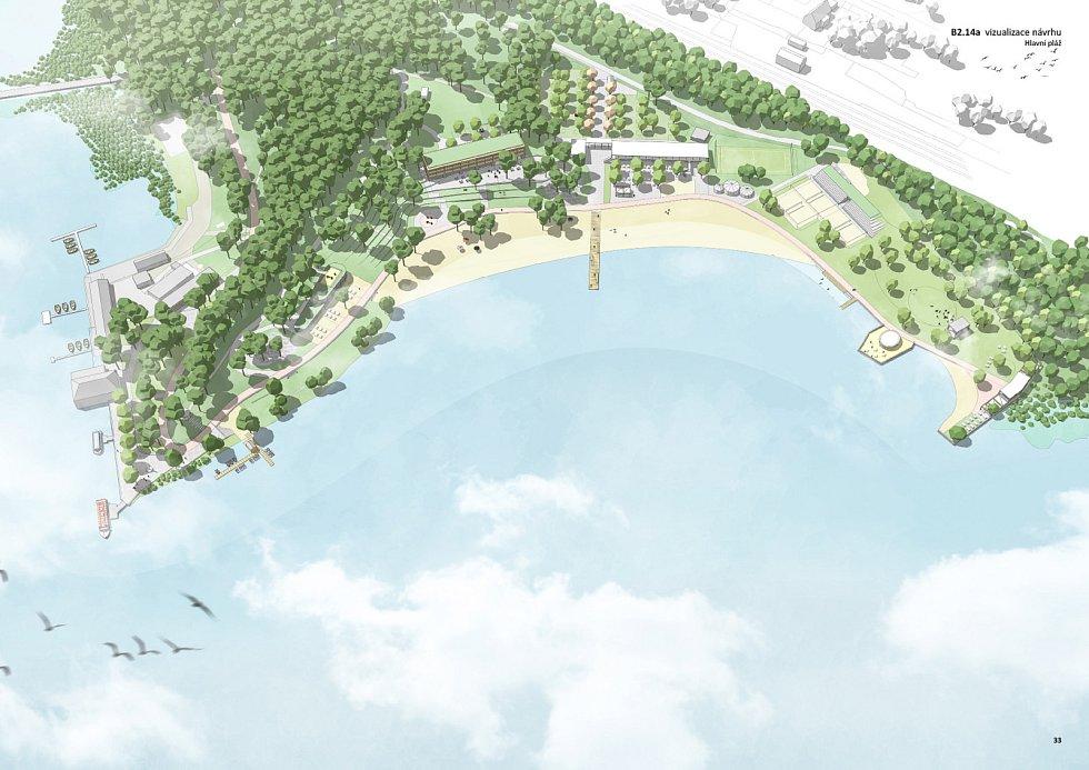 Plány a vizualizace pláží u Máchova Jezera.