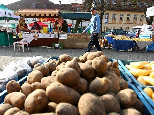 Farmářské trhy na českolipském Škroupově náměstí.