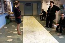 Kartografové z tvůrčí dílny českolipské Geodezie On Line přenesli turistickou mapu v měřítku 1:25 000 na koberec.