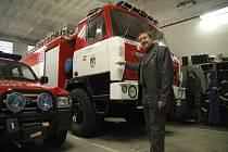 Novoborský starosta Jindřich Mareš v místní hasičské zbrojnici