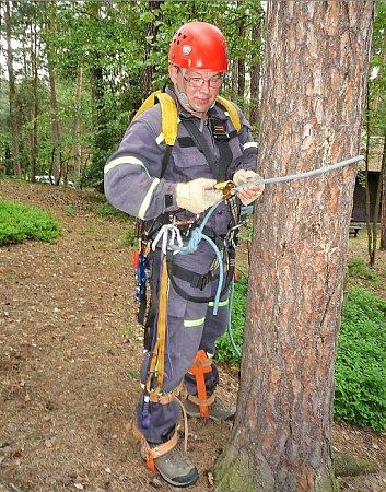 Svázaná sojka visela vkoruně stromu, pomoci museli hasiči.