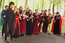 Cvikovský soubor Lusatia consort na Středověkých dnech v slovinské Lublani.