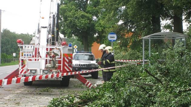 Popadané stromy likvidovali hasiči u silnice přes Oboru ještě v neděli odpoledne.
