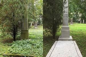 Hrob J. J. Kaliny před rokem (vlevo) a po renovaci.