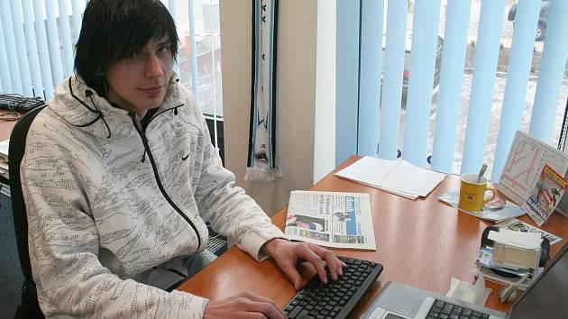 Lukáš Janků při online rozhovoru v redakci Vyškovského deníku Rovnost.