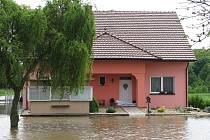 Povodně v Hruškách na Vyškovsku.