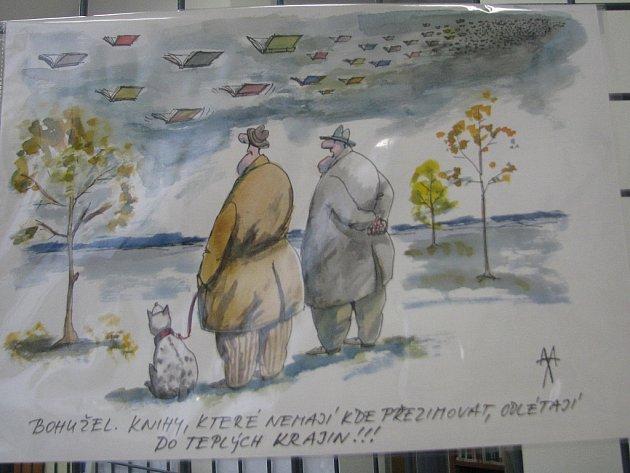 Karikatury v knihovně
