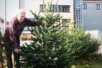 Vánoční stromek si lidé můžou koupit už tradičně třeba u budovy pošty pod Masarykovým náměstím ve Vyškově.