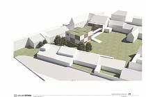 Vizualizace projektu přístavby a rekonstrukce mateřské školy Zvídálek. Návrh pochází z ateliéru architekta Marka Štěpána.