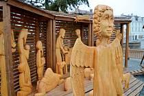 Anděl v betlému na Masarykově náměstí ve Vyškově.