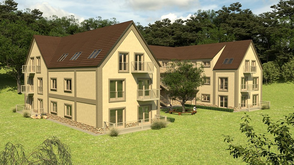Vizualizace nového bytového domu v Milešovicích.