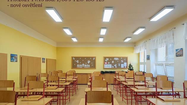Učebna výtvarné výchovy s novým osvětlením.