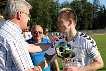 V předposledním kole divize D porazili fotbalisté MFK Vyškov Bystřici nad Pernštejnem 2:1 a zajistili si postup do moravskoslezské ligy.