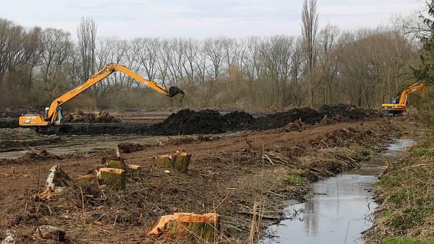 Práce na odbahnění vyškovského rybníka malého Kačence jsou v plném proudu.