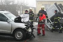 Nehoda v Brněnské ulici ve Vyškově.
