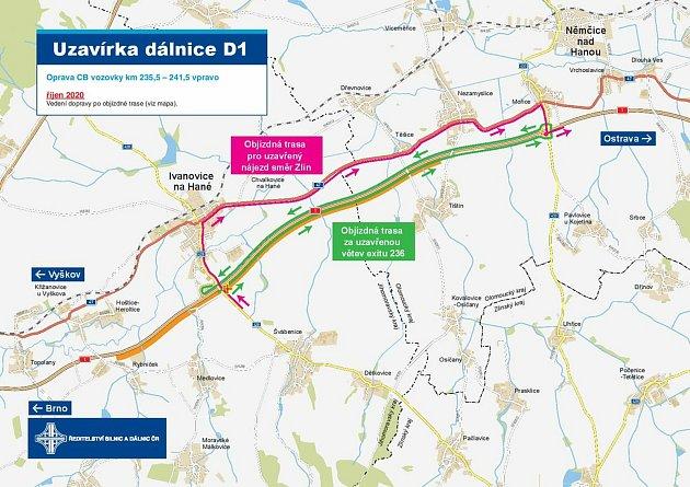 Na dálnici D1 uIvanovic na Hané pokračují opravy vozovky. Silničáři také prodloužili omezení.