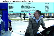 Srovnání cen benzinu natural 95 v okresních městech jihomoravského kraje.