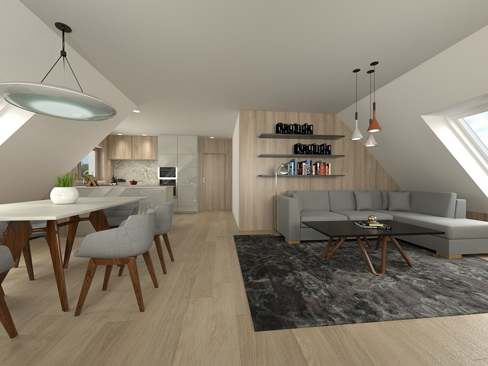 Vizualizace interiéru budoucích bytů.