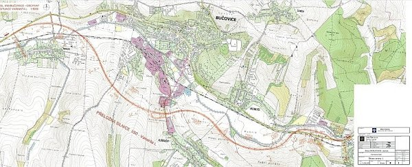Návrh trasy obchvatu Bučovic – varianta L