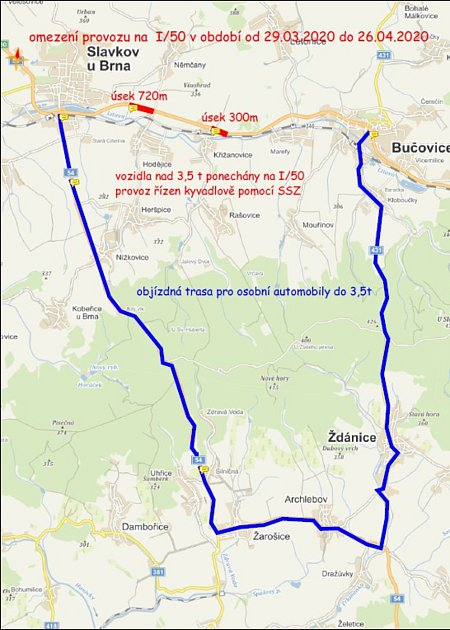 Objízdná trasa pro osobní auta při opravách silnice mezi Slavkovem a Bučovicemi. Foto: archiv MÚ Bučovice