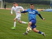 Ve 20. kole Moravskoslezské fotbalové ligy porazil MFK Vyškov (bílé dresy) Viktorii Otrokovice 2:1.