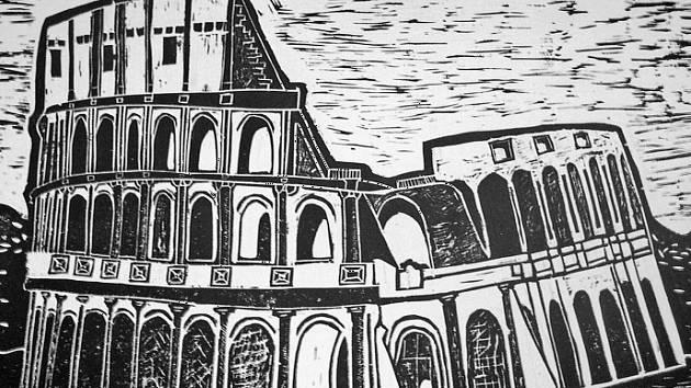 Koloseum - absolvent Marek Kervitcer si pro svoji práci vybral kresbu s nádechem minulosti.