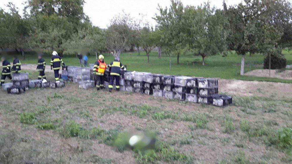 Kamion s přívěsem s bednami plnými králíků se v pondělí krátce po šesté hodině večer převrátil v bučovické místní části Marefy.