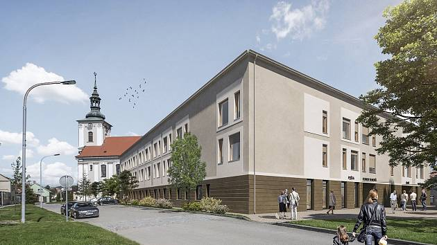 První vizualizace Domova pro seniory po demolici zdravotnické školy.
