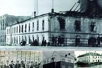 Odshora dolů, zleva doprava. Tusculum po požáru v roce 1930. Pracovníci Tuscula, kteří vyráběli muniční bedny. Projekt nadstavby továrny Tusculum z roku 1944. Svobodova soukenická továrna v roce 1910.  Titulní list prospektu výrobků Tusculum z roku 1935.