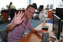 Nohejbalista Petr Zemánek při online rozhovoru.
