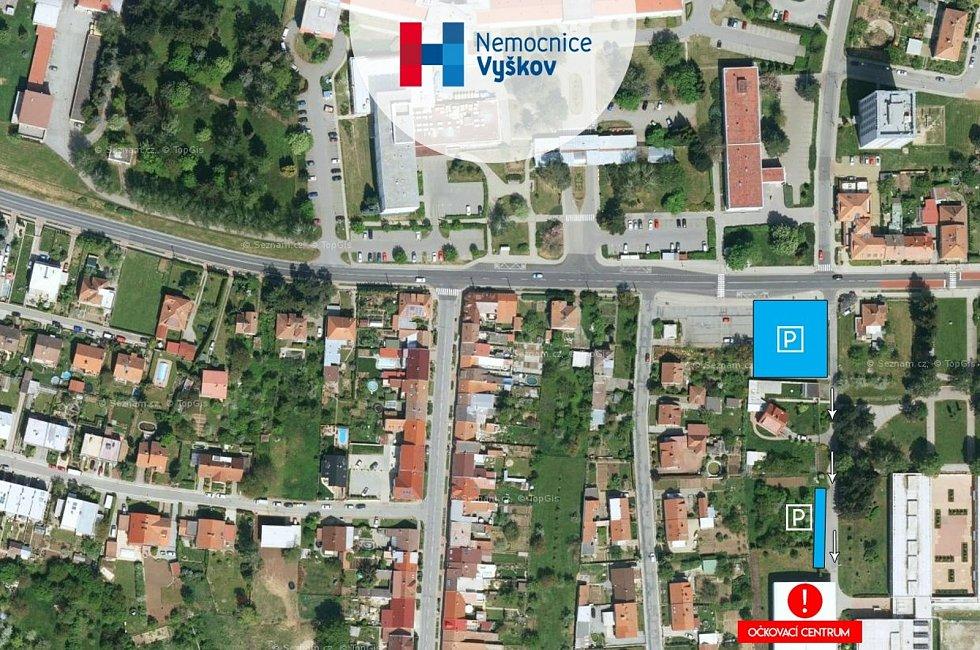 Mapka očkovacího centra na Purkyňově.