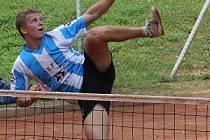 Vyškovský nohejbalista Martin Muller (na snímku) dokázal se svým parťákem Lubošem Grycem dokráčet na českém mistrovství až do finále.