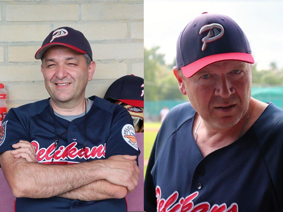 Baseball Pelikans Bučovice, zleva předseda klubu Lubomír Vykoukal, trenér Jiří Foitl