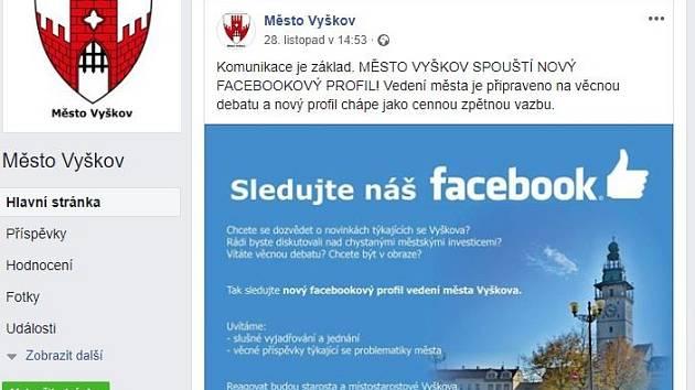 Vyškov má svůj oficiální profil na Facebooku.