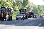 Ve Vyškově vyrazilo do ulic několik desítek strojů. Zemědělci tak bojují za lepší podmínky.
