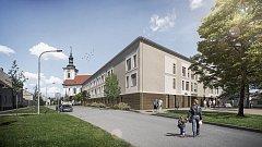 Město Vyškov zveřejnilo první vizualizaci Domova pro seniory po demolici Zdravotnické školy.