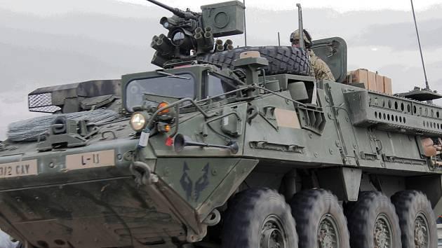 Konvoj amerických vojáků ve Vyškově. Ilustrační foto.