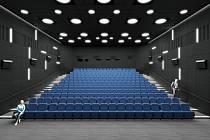 Rekonstrukce sálu vyškovského kina. Foto z léta.