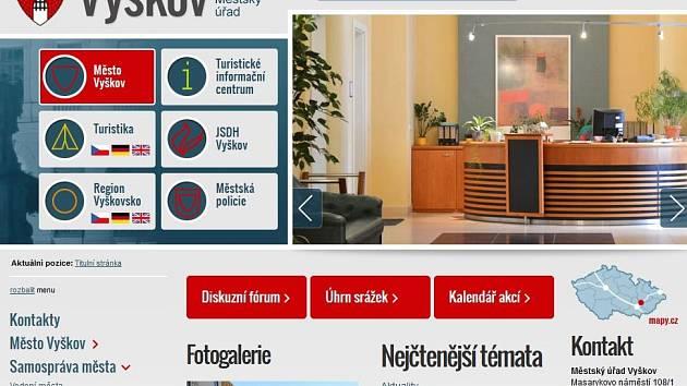 Oceněné webové stránky města Vyškov. Ilustrační snímek.