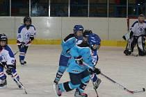 V osmifinále na domácí hokejisty (v modrém) čekalo družstvo Hoby Bratislava. Hosté nedokázali do vyškovské branky dostat ani jediný puk.
