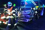 Hasiči zasahovali u vážné nehody na D1 u Holubic.