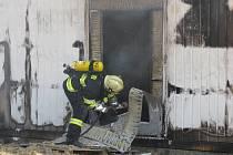 Požár fotovoltaické elektrárny v Křenovicích.