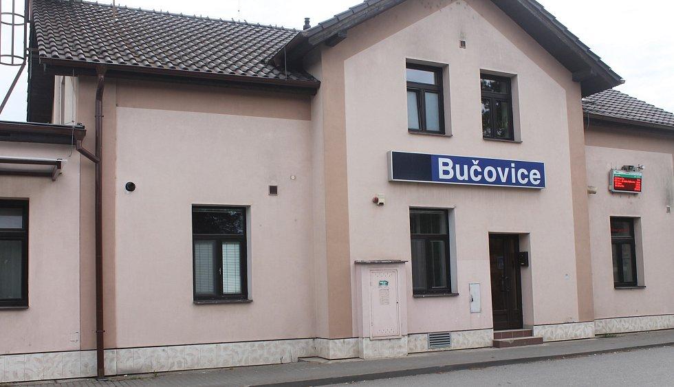 Vlaková stanice v Bučovicích.