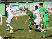 Ve druhém jarním kole Moravskoslezské fotbalové ligy remizoval SK Líšeň (bílé dresy) s MFK Vyškov 1:1.
