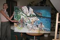 Expozici obrazů s názvem Klubko Prostorů = Manigold vystavuje od včerejšího večera v Knihovně Karla Dvořáčka ve Vyškově výtvarnice Magdalena Vanďurková.