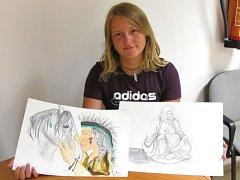 Karolína Hájková z Rychtářova je talentovaná kreslířka. V republice byla v soutěži desátá.